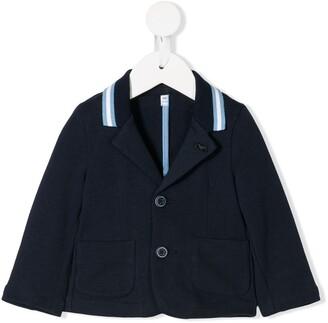 Emporio Armani Kids stripe detail logo plaque blazer