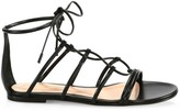 Gianvito Rossi Leather Lace-Up Flat Sandals