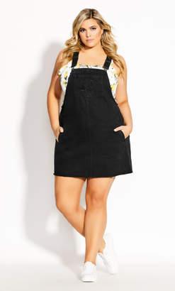 City Chic Denim Fray Dress - black