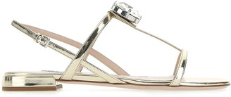 Miu Miu Crystsal Embellished Sandals