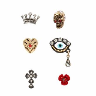 Betsey Johnson Women's Skull Mixed Stud Earrings Set