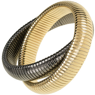 Janis Savitt High Polished Yellow Gold and Gunmetal Plated Double Cobra Bracelet