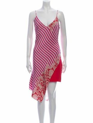 Cushnie Striped Midi Length Dress w/ Tags Purple