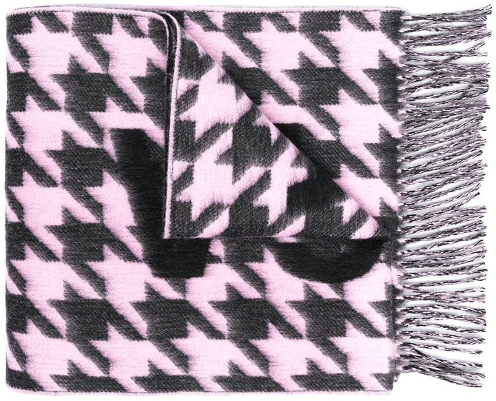 Balenciaga Houndstooth Logo Wool Scarf