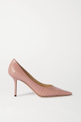 Jimmy Choo Love 85 Croc-effect Leather Pumps - Pink