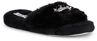 Steve Madden Girl's Embellished Crown Faux Fur Slippers
