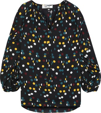 Diane von Furstenberg Maple Gathered Polka-dot Crepe De Chine Blouse