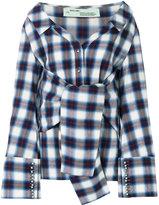 Off-White checkered waist tie shirt