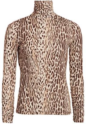 Zimmermann Eye Spy Silk Leopard-Print Turtleneck Top