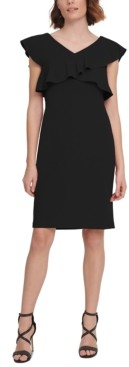 DKNY Crisscross Ruffle Sheath Dress