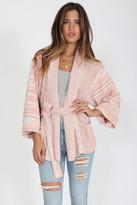 Goddis Tanner Open Knit Kimono In Paris Crush