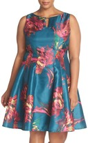 Gabby Skye Keyhole Detail Floral Shantung Fit & Flare Dress (Plus Size)