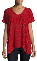 Johnny Was Jamie Short-Sleeve Embroidered Eyelet Top, Scarlet, Plus Size