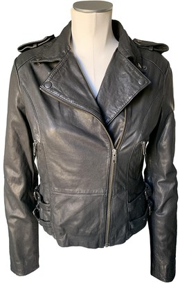 Ash Black Leather Leather Jacket for Women