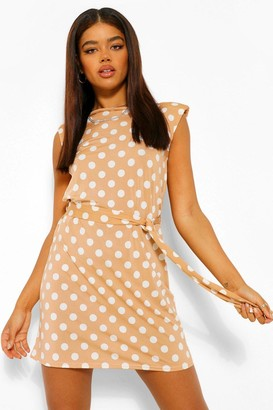 boohoo Polka Dot Slinky Belt Shoulder Pad Dress