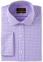 Tasso Elba Men's Classic/Regular Fit Non-Iron Lavender Herringbone Gingham French Cuff Dress Shirt, Created for Macy's