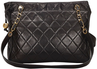 Chanel Black Lambskin Leather Matelasse Shoulder Bag