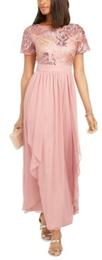 R & M Richards Sequin-Embroidered Chiffon Gown