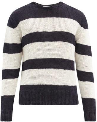 Officine Generale Marco Striped Linen-blend Sweater - Navy Multi