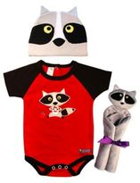 Sozo 3-Piece Raccoon Welcome Home Gift Set in Red/Black/Grey