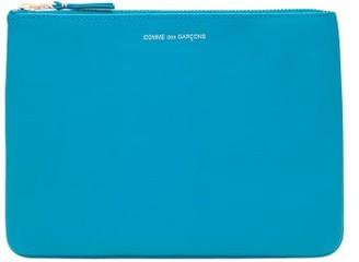 Comme des Garcons Zipped Leather Pouch - Womens - Blue