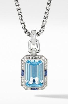 David Yurman Novella Pendant with Blue Topaz, Sapphires & Pave Diamonds