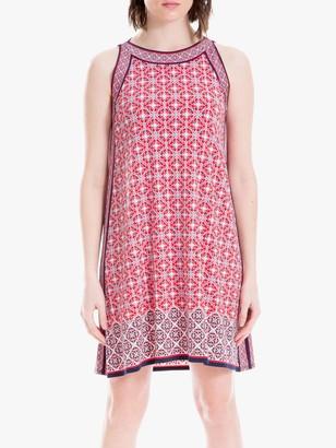 Max Studio Mini Sleeveless Printed Jersey Dress, Navy/Coral