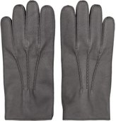 Reiss Reiss Glenworth - Tumbled Leather Gloves In Grey