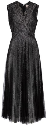 Christopher Kane Lace-trimmed glitter tulle midi dress