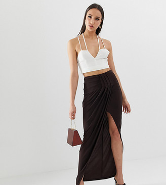 Asos Tall DESIGN Tall exclusive drape wrap slinky maxi skirt-Brown