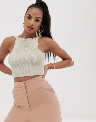 Asos Design DESIGN rib knit cami with low back-Stone
