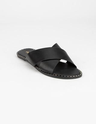 Qupid Criss Cross Womens Black Sandals