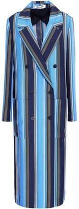 Diane von Furstenberg Belted Striped Silk Trench Coat