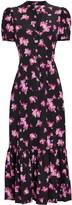 A.L.C. Dylan Floral Flounce Midi Dress