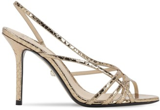 ALEVÌ Milano 90mm Embossed Metallic Leather Sandals