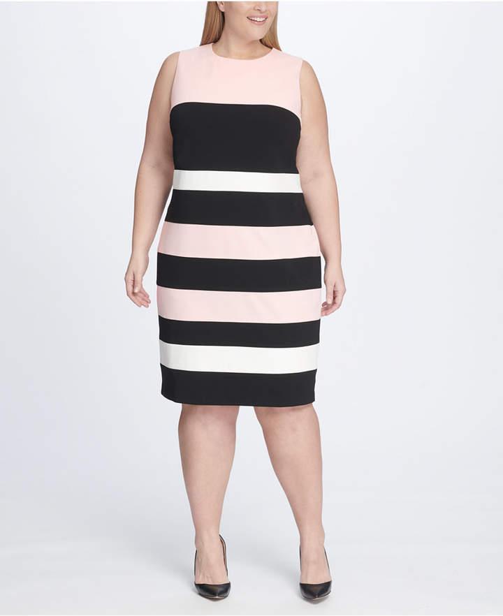 Plus Size Scuba Crepe Colorblock Sheath Dress