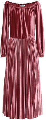 Valentino Stretch-velvet off-shoulder dress