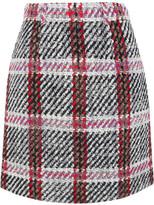 Carven Tartan Bouclé-tweed Mini Skirt - Gray