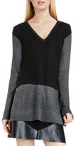 Vince Camuto Colorblock Waffle Stitch V-Neck Sweater (Regular & Petite)