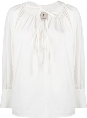 L'Autre Chose Front Tie Cotton Blouse