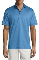 Peter Millar Fine-Stripe Lisle-Knit Polo Shirt, Blue