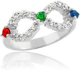 Mother's Jewelry Dainty 14k White Gold Mix-and-Match Birthstone CZ Mother's Infinity Ring (Size 7.75)