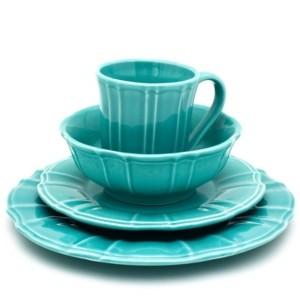Chloé Euro Ceramica 16 Piece Turquoise Dinnerware Set