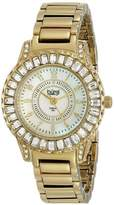 Burgi Women's BUR095YG Yellow Gold Crystal Accented Swiss Quartz Watch with Pink Mother of Pearl Dial and Yellow Gold Bracelet