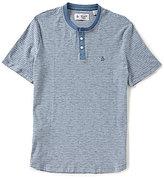 Original Penguin Tri-Colo Feeder Stripe Short-Sleeve Henley Shirt