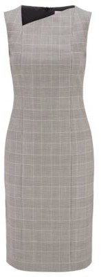HUGO BOSS Checked Shift Dress In Italian Wool With Asymmetric Neckline - Patterned