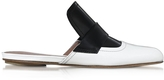 Marni Natural White and Black Leather Sabot