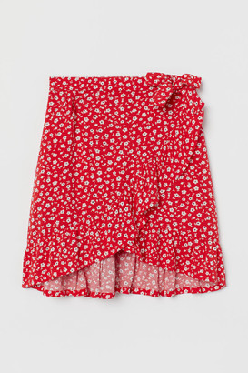 H&M Wrap-front Skirt - Red
