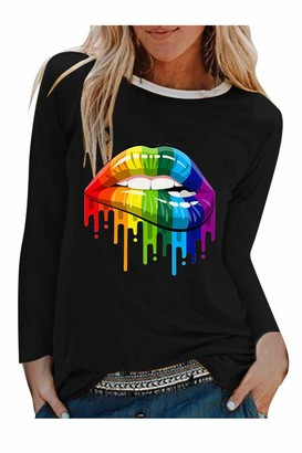 Zilcremo Women Casual Shirt Rainbow Lips Print Long Sleeve Pullover Tops Blouse Black M