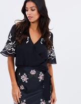 Lipsy Embroidered Wrap Top